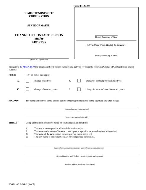 Form MNP-3 Printable Pdf