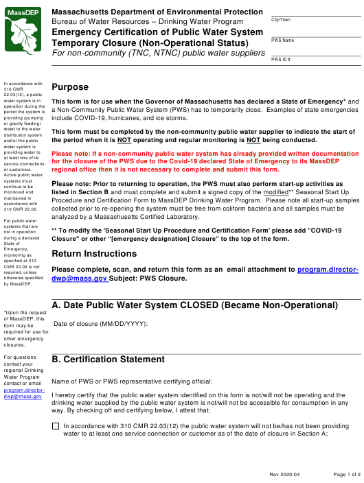 """""""Emergency Certification of Public Water System Temporary Closure (Non-operational Status) - for Non-community (Tnc/Ntnc) Public Water Suppliers"""" - Massachusetts Download Pdf"""