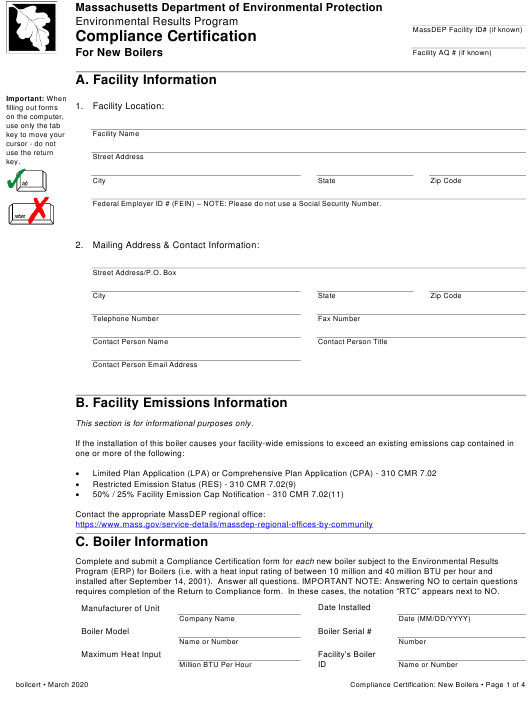 """""""Compliance Certification for New Boilers"""" - Massachusetts Download Pdf"""