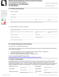 """Compliance Certification for New Boilers"" - Massachusetts"