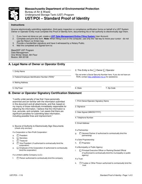 Form UST/POI  Printable Pdf
