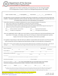 """Form FP-086 """"Application for New Certificate of Competency for Servicing Portable Fire Extinguishers and/or Fixed Fire Extinguishing Systems"""" - Massachusetts"""
