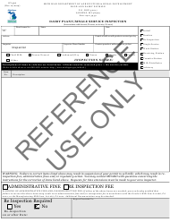 """Form DY-366 """"Dairy Plant/Single Service Inspection"""" - Michigan"""