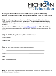"""""""Michigan Online Education Certification System (Moecs) Access Form for Isd/Esa, Nonpublic School, Psa, or Lea Users"""" - Michigan"""