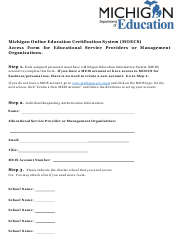 """""""Michigan Online Education Certification System (Moecs) Access Form for Educational Service Providers or Management Organizations"""" - Michigan"""