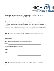 """""""Michigan Online Education Certification System (Moecs) Access Form for Substitute Staffing Providers"""" - Michigan"""