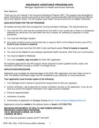 "Form DHS-1661 ""Insurance Assistance Program (Iap) Application"" - Michigan"