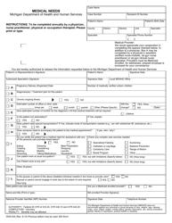 "Form DHS-54A ""Medical Needs"" - Michigan"