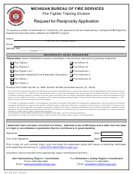 "Form BFS-258 ""Request for Reciprocity Application"" - Michigan"