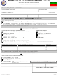 "Form BDVR-155 ""Record Request for Michigan Governmental Agencies"" - Michigan"