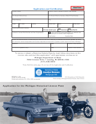 "Form BDVR-96 ""Application for the Michigan Historical License Plate"" - Michigan"