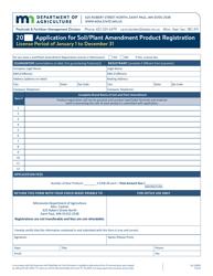 "Form AG-00890 ""Application for Soil/Plant Amendment Product Registration"" - Minnesota"