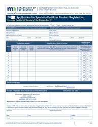 "Form AG-00129 ""Application for Specialty Fertilizer Product Registration"" - Minnesota"