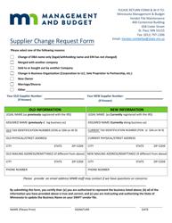 """Supplier Change Request Form"" - Minnesota"