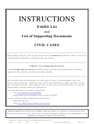 """Instructions for Form CIV901 """"Exhibit List and List of Supporting Documents (Civil Cases)"""" - Minnesota"""