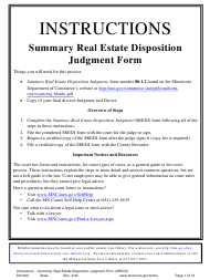 """Instructions for Form 80.1.2 """"Summary Real Estate Disposition Judgment"""" - Minnesota"""