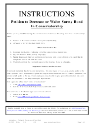 """Form GAC301 """"Instructions - Petition to Decrease or Waive Surety Bond"""" - Minnesota"""