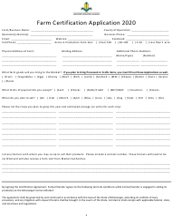 """Farm Certification Application"" - Mississippi, 2020"