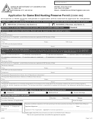 """Application for Game Bird Hunting Preserve Permit (Code 550)"" - Missouri"