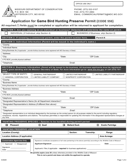 """""""Application for Game Bird Hunting Preserve Permit (Code 550)"""" - Missouri Download Pdf"""