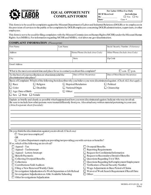 Form MODOL-4519  Printable Pdf
