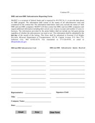 """Dbe and Non-dbe Subcontractor Reporting Form"" - Missouri"