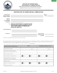 """Form 107 """"Certificate of Substantial Completion"""" - Montana"""