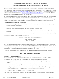 "Instructions for Form NOI-07 ""Notice of Intent Form Construction Dewatering General Permit Mtg070000"" - Montana"