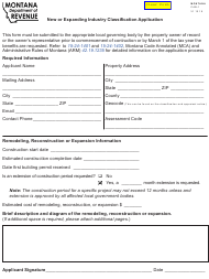 "Form CAB-1 ""New or Expanding Industry Classification Application"" - Montana"