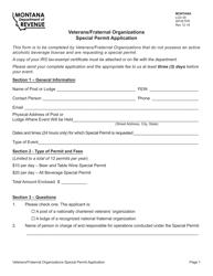 "Form LCD49 ""Veterans/Fraternal Organizations Special Permit Application"" - Montana"