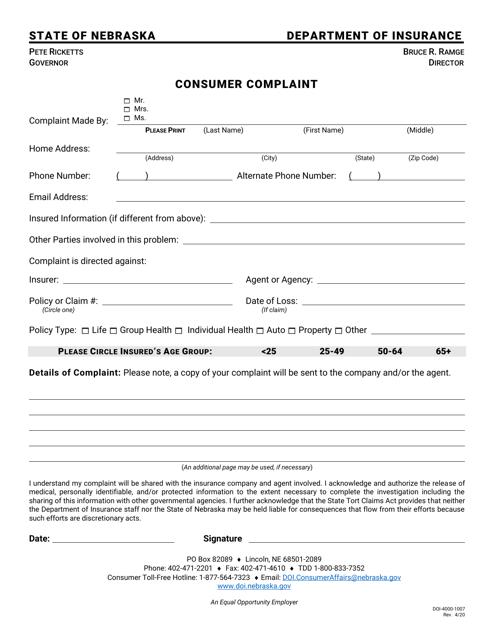 Form DOI-4000-1007 Printable Pdf