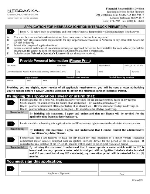 """Application for Nebraska Ignition Interlock Permit (Iip)"" - Nebraska Download Pdf"