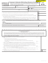 "Form W-4N ""Employee's Nebraska Withholding Allowance Certificate"" - Nebraska"