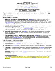 """Form 508 """"Instructions for Broker License/All Broker Applicants"""" - Nevada"""