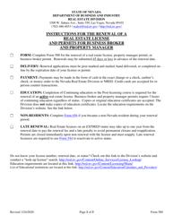 "Form 580 ""Renewal Application - Broker, Broker Salesperson, or Salesperson License - Business Broker and Property Manager Permit"" - Nevada"