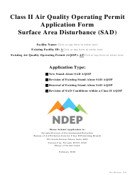 """Class Ii Air Quality Operating Permit Application Form - Surface Area Disturbance (Sad)"" - Nevada"