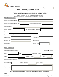 """Form FA-60 """"Mac Pricing Appeal Form"""" - Nevada"""