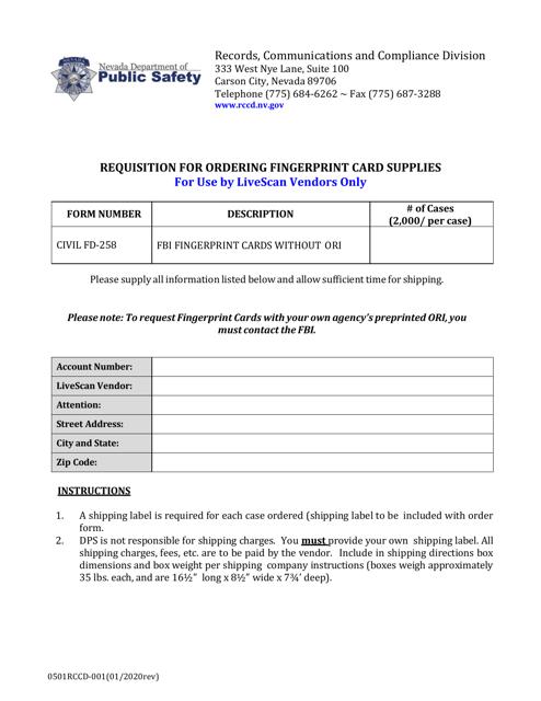 Form 0501RCCD-001 Printable Pdf