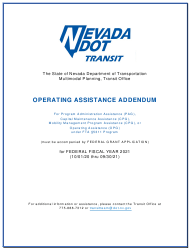 """Operating Assistance Addendum for Program Administration Assistance (Pag), Capital Maintenance Assistance (Cpg), Mobility Management Program Assistance (Cpg), or Operating Assistance (Opg) Under Fta 5311 Program"" - Nevada, 2021"
