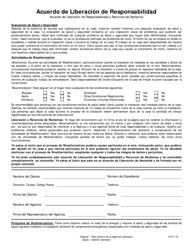 """Acuerdo De Liberacion De Responsabilidad"" - Iowa (Spanish)"