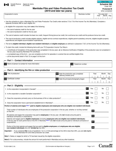 Form T2 Schedule 388 Printable Pdf