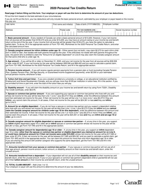 Form TD1 2020 Printable Pdf