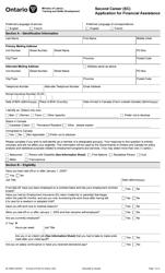 "Form 89-1889E ""Application for Financial Assistance - Second Career (Sc)"" - Ontario, Canada"