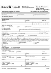 """Form 2945E """"Canada-Ontario Job Grant (Cojg) Participant Registration"""" - Ontario, Canada"""