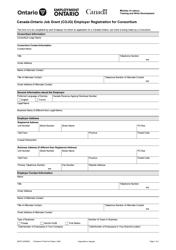 """Form 2947E """"Canada-Ontario Job Grant (Cojg) Employer Registration for Consortium"""" - Ontario, Canada"""