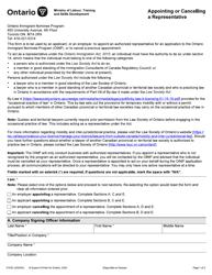 "Form 0153E ""Appointing or Cancelling a Representative"" - Ontario, Canada"