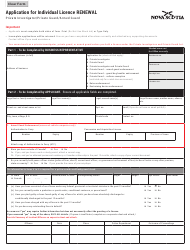 "Form 4 ""Application for Individual Licence Renewal"" - Nova Scotia, Canada"