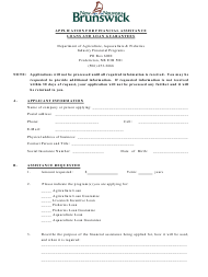 """Application for Financial Assistance Loans and Loan Guarantees"" - New Brunswick, Canada"
