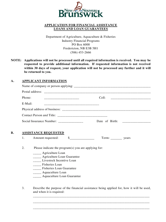 """""""Application for Financial Assistance Loans and Loan Guarantees"""" - New Brunswick, Canada Download Pdf"""