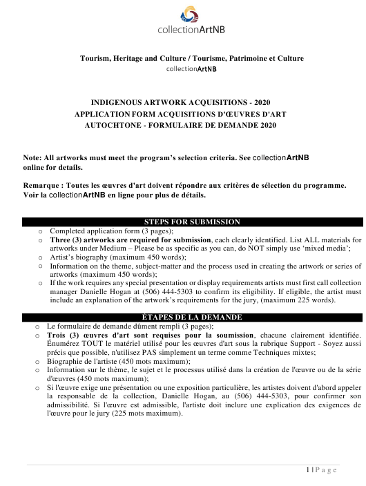"""""""Indigenous Artwork Acquisitions Application Form"""" - New Brunswick, Canada (English/French) Download Pdf"""